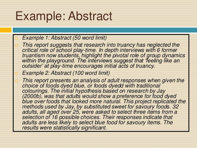 Report writing abstract