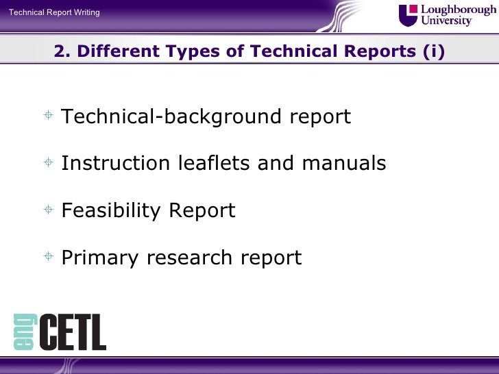 Different types of report writing
