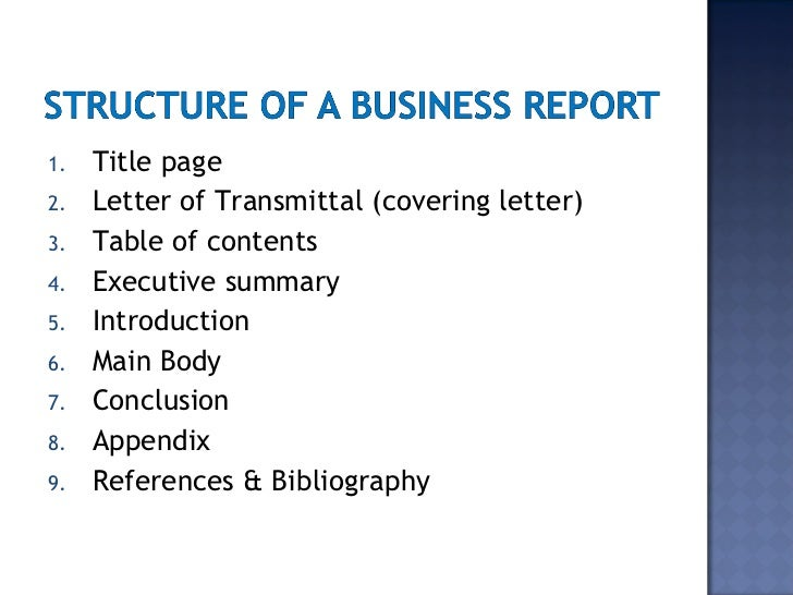 SlideShare  Format For A Business Report