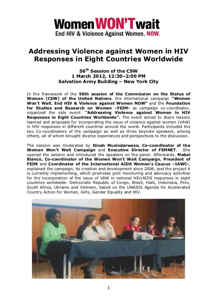 Addressing Violence against Women in HIV Responses in Eight Countries Worldwide                        56th Session of the...
