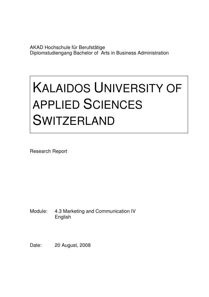 AKAD Hochschule für Berufstätige Diplomstudiengang Bachelor of Arts in Business Administration      KALAIDOS UNIVERSITY OF...