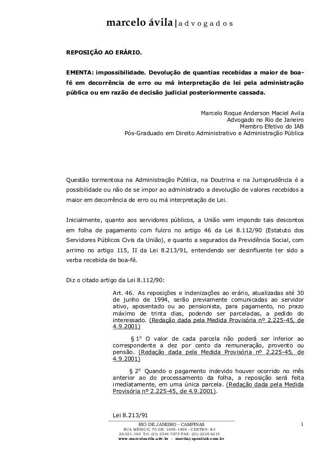 marcelo ávila|a d v o g a d o s RIO DE JANEIRO - CAMPINAS RUA MÉXICO, 70 GR. 1005-1006 - CENTRO- RJ 20.031-140 Tel. (21) 2...