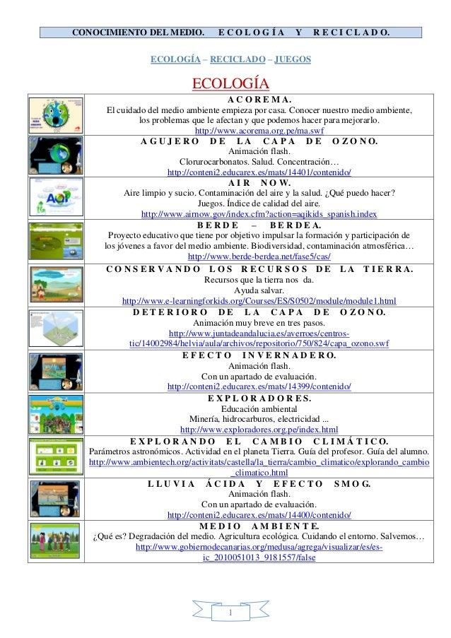 CONOCIMIENTO DEL MEDIO.             ECOLOGÍA             Y    R E C I C L A D O.                  ECOLOGÍA – RECICLADO – J...