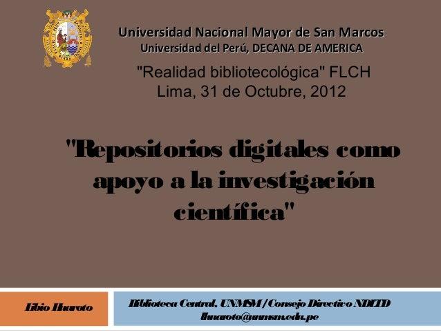 """Universidad Nacional Mayor de San Marcos                   Universidad del Perú, DECANA DE AMERICA                  """"Reali..."""