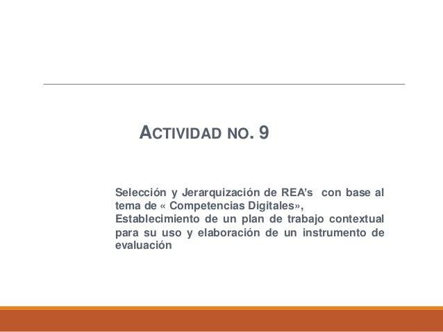 ACTIVIDAD NO. 9 Selección y Jerarquización de REA's con base al tema de « Competencias Digitales», Establecimiento de un p...