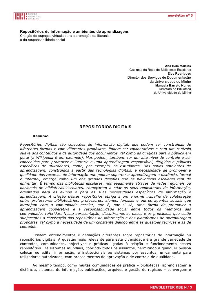 newsletter nº 3Repositórios de informação e ambientes de aprendizagem:Criação de espaços virtuais para a promoção da liter...