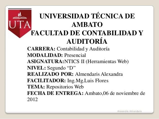 UNIVERSIDAD TÉCNICA DE          AMBATO FACULTAD DE CONTABILIDAD Y         AUDITORÍACARRERA: Contabilidad y AuditoríaMODALI...