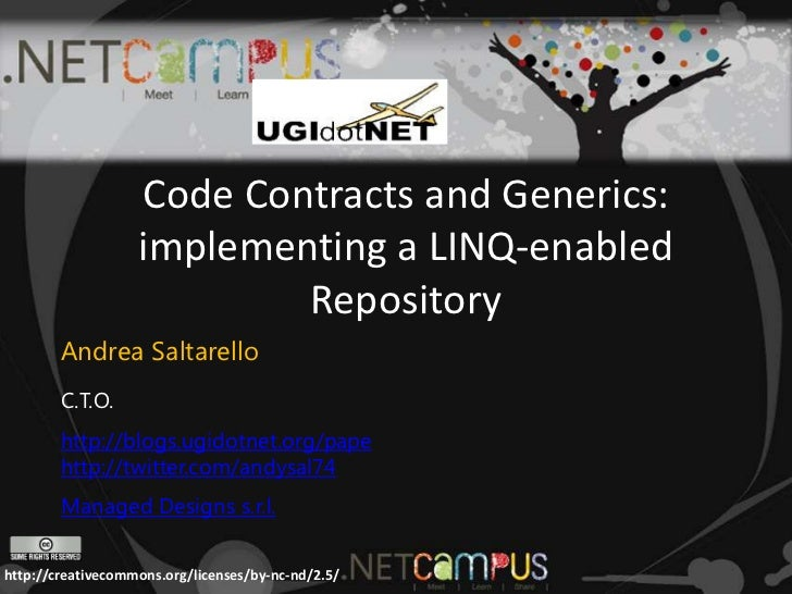 Code Contracts and Generics:                   implementing a LINQ-enabled                           Repository        And...