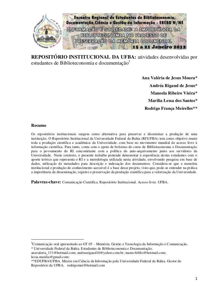 REPOSITÓRIO INSTITUCIONAL DA UFBA: atividades desenvolvidas porestudantes de Biblioteconomia e documentação1              ...