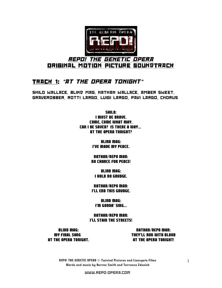 "REPO! THE GENETIC OPERA     ORIGINAL MOTION PICTURE SOUNDTRACKTRACK 1: ""AT THE OPERA TONIGHT""SHILO WALLACE, BLIND MAG, NAT..."