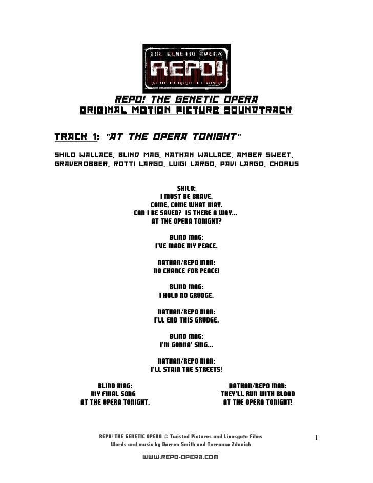 Repo! the genetic opera soundtrack (letras)