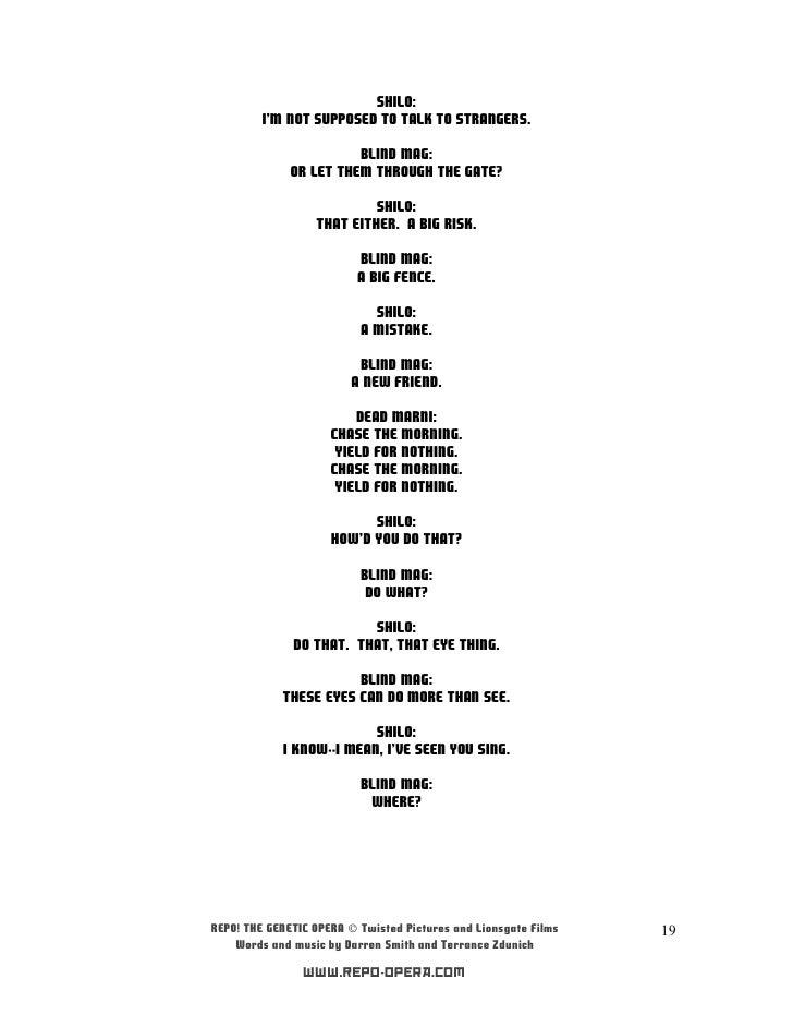 Lyric shilo lyrics : Repo! the genetic opera soundtrack (letras)