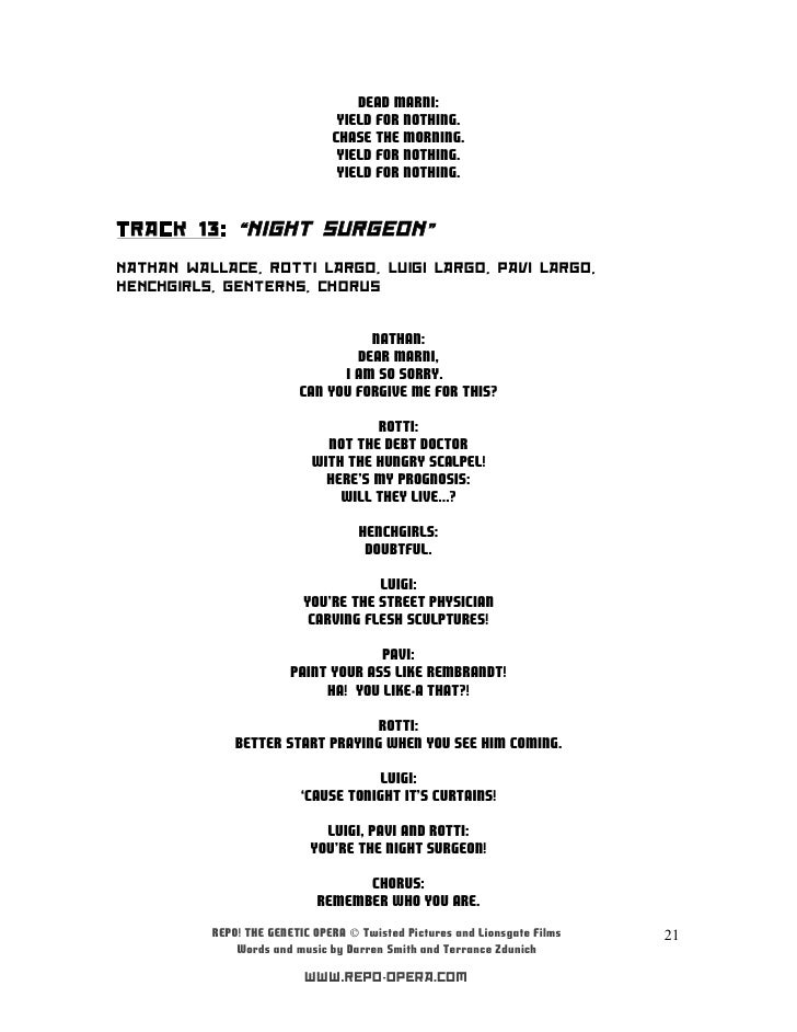 Repo The Genetic Opera Soundtrack Letras