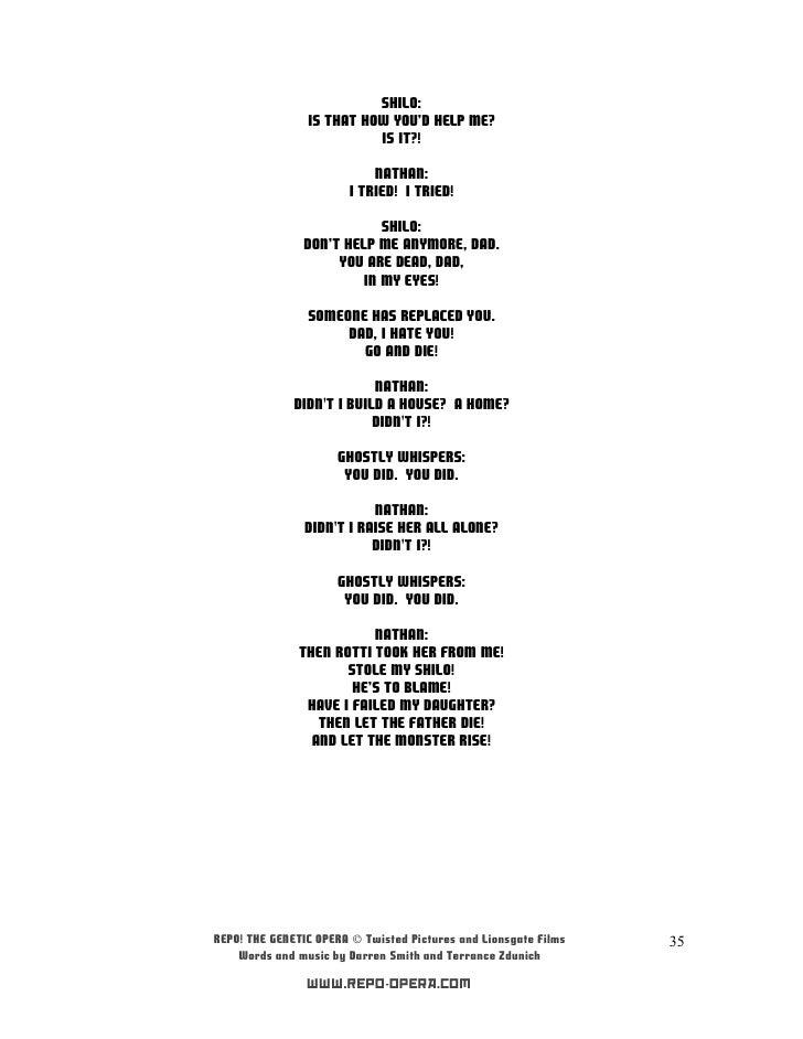 Lyric lyrics opera : Repo! the genetic opera soundtrack (letras)