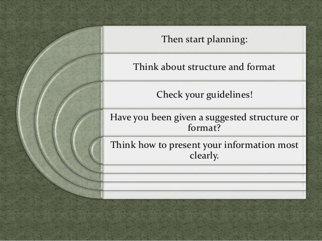 Then start planning: Think about structure and format Check your guidelines! Have you been given a suggested structure or ...