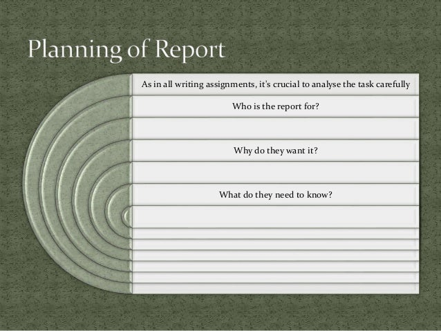 As in all writing assignments, it's crucial to analyse the task carefully Who is the report for? Why do they want it? What...