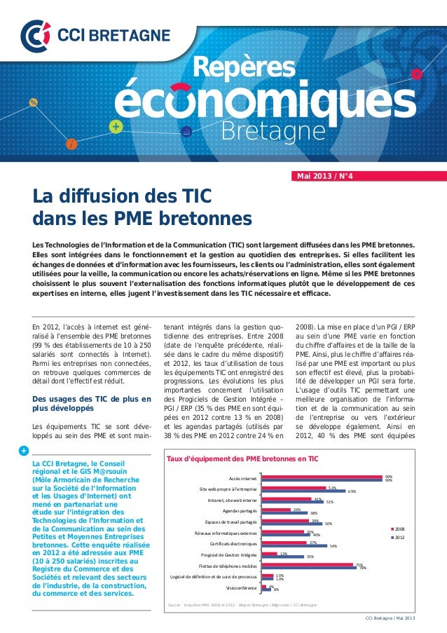 La diffusion des TICdans les PME bretonnesLes Technologies de l'Information et de la Communication (TIC) sont largement di...