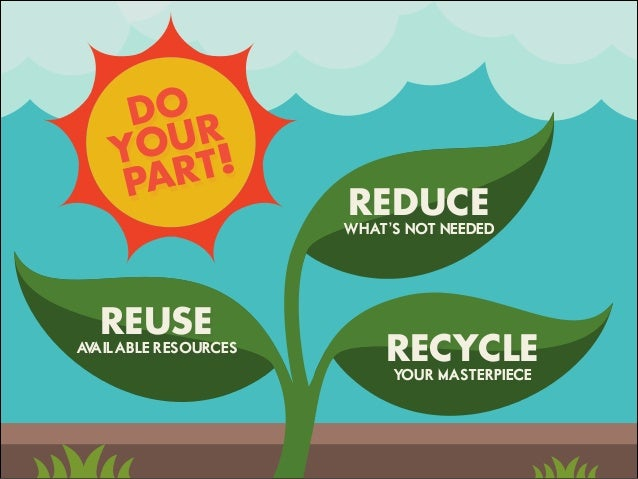 REUSE AVAILABLE RESOURCES REDUCE WHAT'S NOT NEEDED RECYCLE YOUR MASTERPIECE DO YOUR PART!