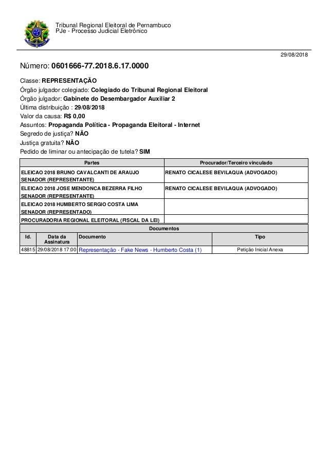 29/08/2018 Número: 0601666-77.2018.6.17.0000 Classe: REPRESENTAÇÃO Órgão julgador colegiado: Colegiado do Tribunal Regiona...