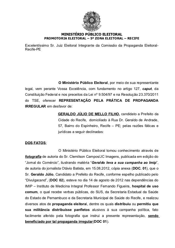 MINISTÉRIO PÚBLICO ELEITORAL            PROMOTORIA ELEITORAL – 5ª ZONA ELEITORAL – RECIFEExcelentíssimo Sr. Juiz Eleitoral...