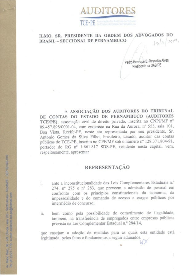 AUDITORES TCE-PE  ILMO.  SR.  PRESIDENTE DA ORDEM DOS ADVOGADOS DO BRASIL - SECCIONAL DE PERNAMBUCO /  ¡ ¡ /  LOM .      [...
