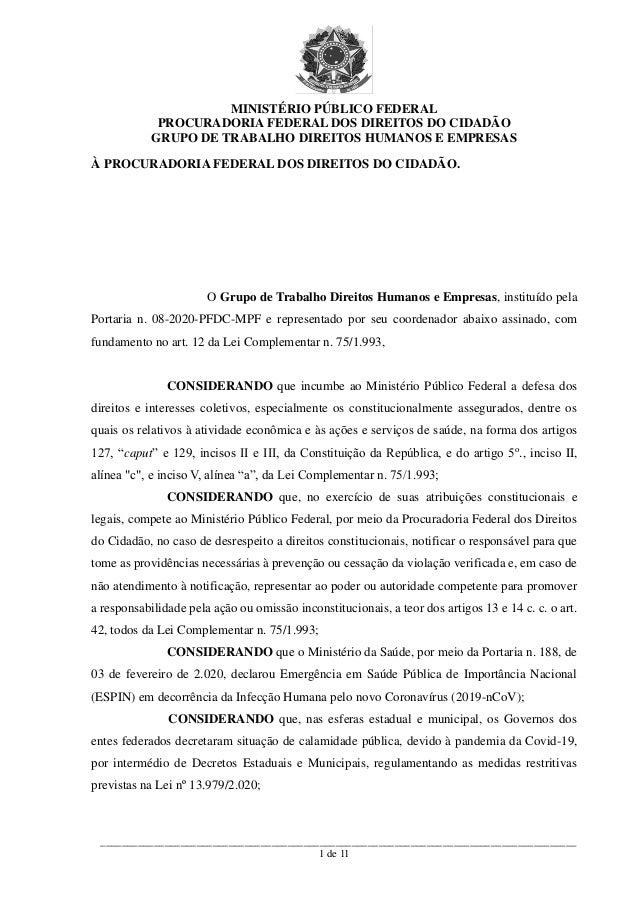 MINISTÉRIO PÚBLICO FEDERAL PROCURADORIA FEDERAL DOS DIREITOS DO CIDADÃO GRUPO DE TRABALHO DIREITOS HUMANOS E EMPRESAS ____...