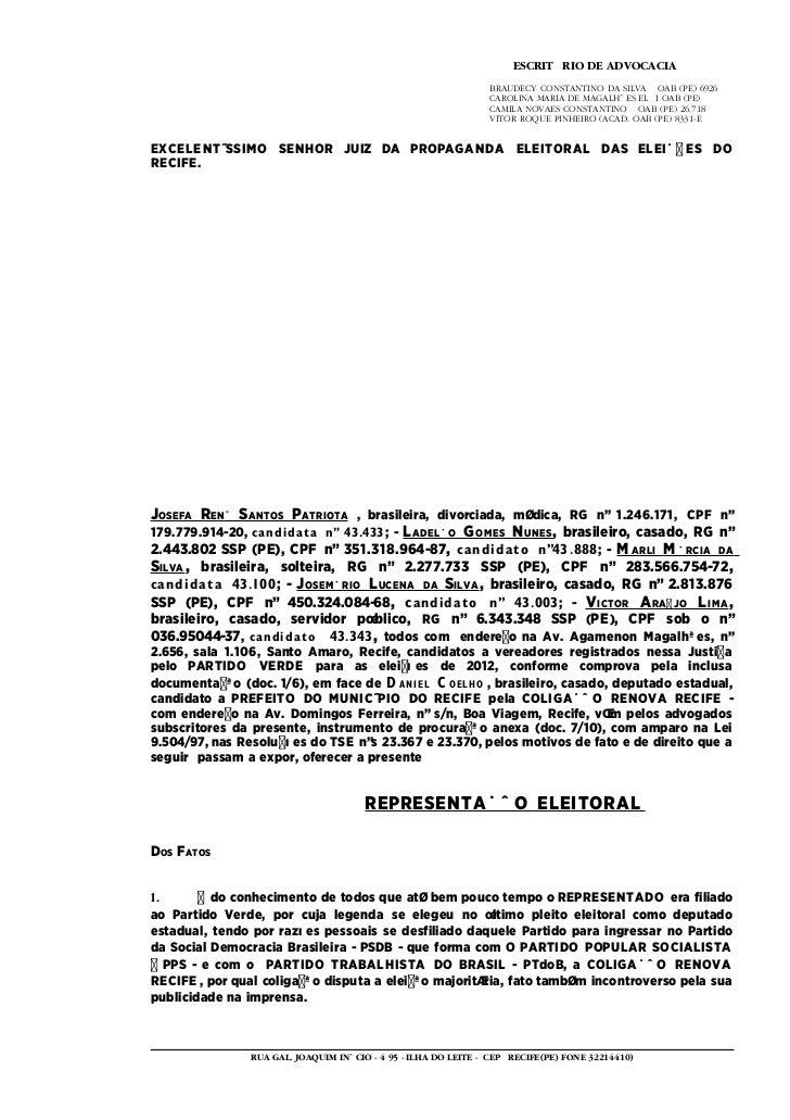 ESCRITÓRIO DE ADVOCACIA                                                                BRAUDECY CONSTANTINO DA SILVA – OAB...