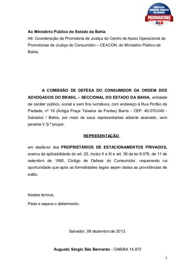 Ao Ministério Público do Estado da Bahia Att: Coordenação de Promotoria de Justiça do Centro de Apoio Operacional às Promo...