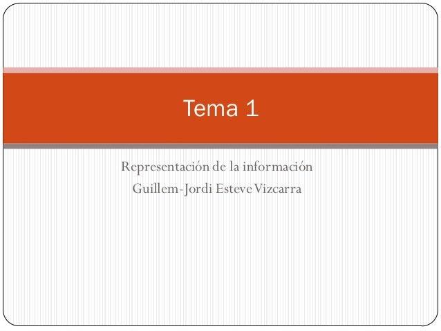 Representaciónde la información Guillem-Jordi EsteveVizcarra Tema 1