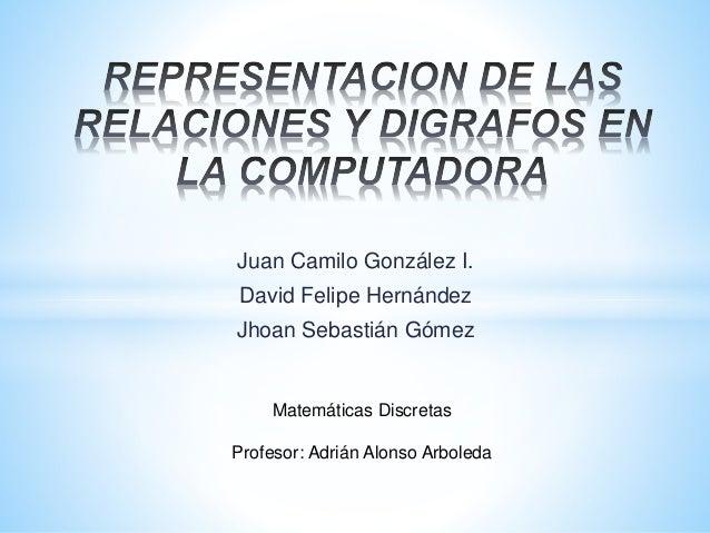 Juan Camilo González I. David Felipe Hernández Jhoan Sebastián Gómez Matemáticas Discretas Profesor: Adrián Alonso Arboleda