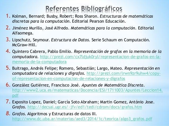 1. Kolman, Bernard; Busby, Robert; Ross Sharon. Estructuras de matemáticas discretas para la computación. Editorial Pearso...