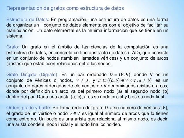 Representación de grafos como estructura de datos Estructura de Datos: En programación, una estructura de datos es una for...
