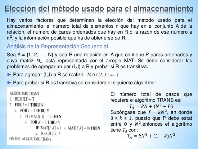 Hay varios factores que determinan la elección del método usado para el almacenamiento: el número total de elementos n que...