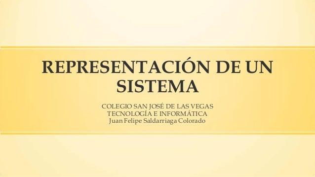 REPRESENTACIÓN DE UN SISTEMA COLEGIO SAN JOSÉ DE LAS VEGAS TECNOLOGÍA E INFORMÁTICA Juan Felipe Saldarriaga Colorado