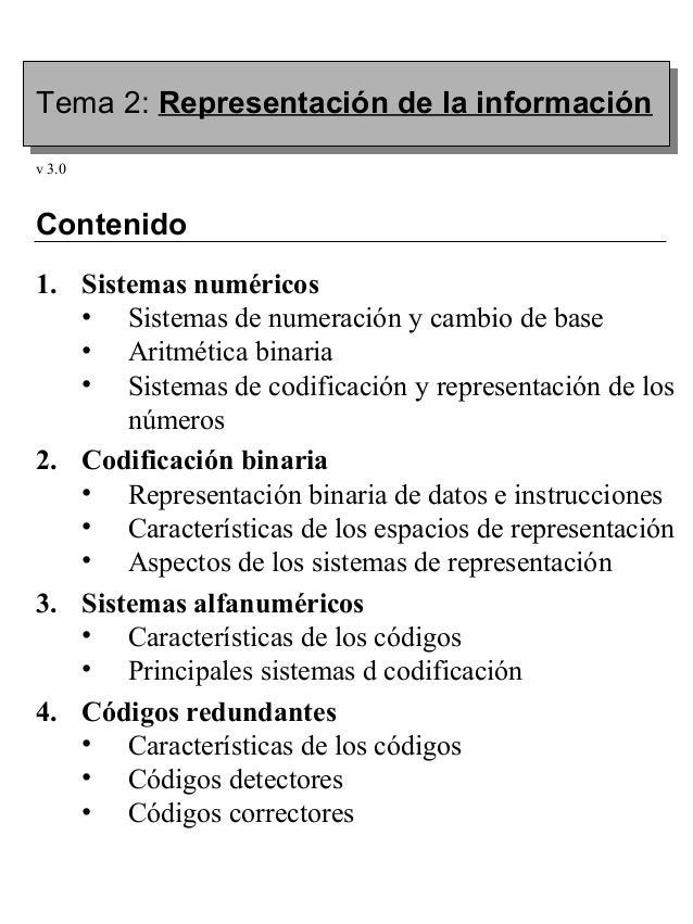 Tema 2: Representación de la informaciónv 3.0Contenido1. Sistemas numéricos   • Sistemas de numeración y cambio de base   ...