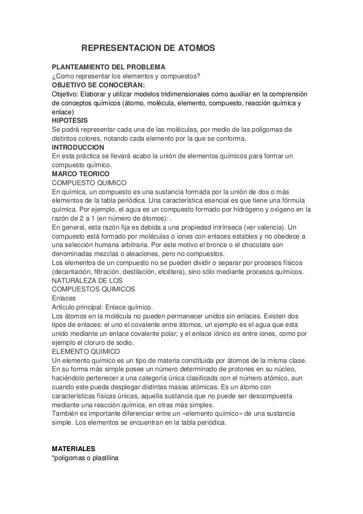 REPRESENTACION DE ATOMOSPLANTEAMIENTO DEL PROBLEMA¿Como representar los elementos y compuestos?OBJETIVO SE CONOCERAN:Objet...