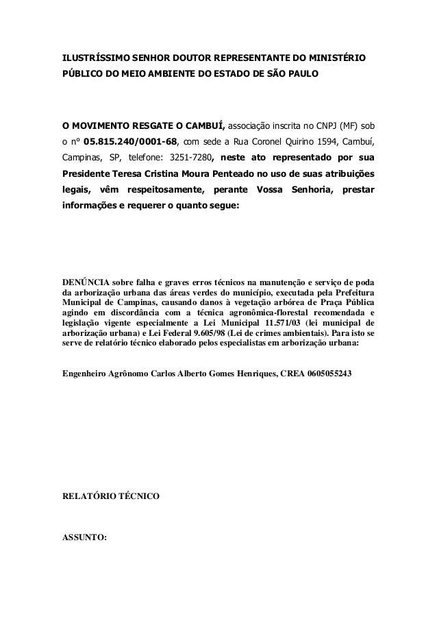 ILUSTRÍSSIMO SENHOR DOUTOR REPRESENTANTE DO MINISTÉRIO PÚBLICO DO MEIO AMBIENTE DO ESTADO DE SÃO PAULO O MOVIMENTO RESGATE...