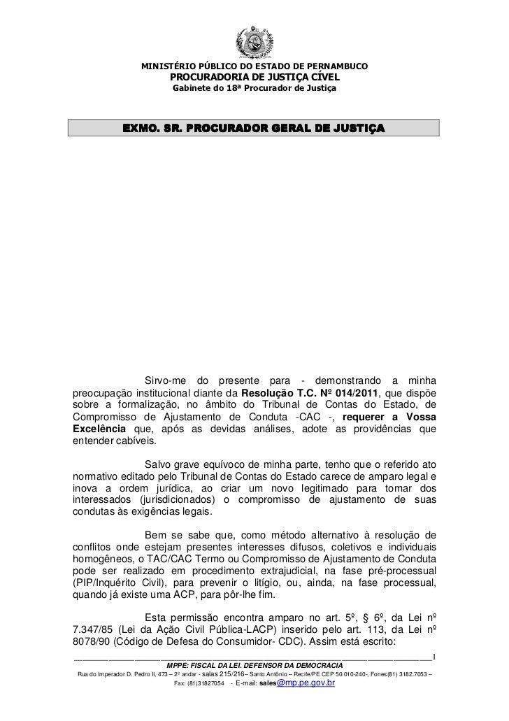 MINISTÉRIO PÚBLICO DO ESTADO DE PERNAMBUCO                                PROCURADORIA DE JUSTIÇA CÍVEL                   ...
