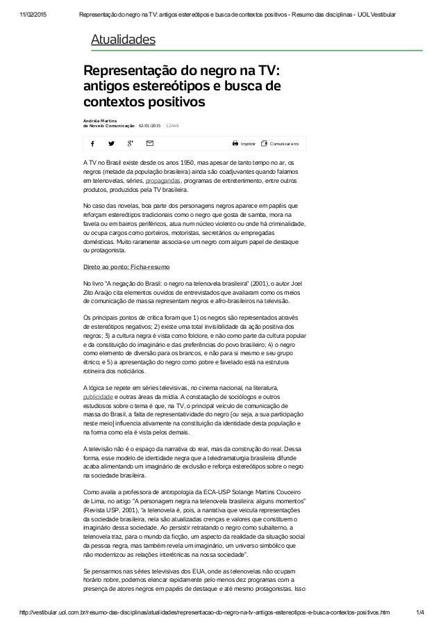 11/02/2015 RepresentaçãodonegronaTV:antigosestereótiposebuscadecontextospositivosResumodasdisciplinasUO...