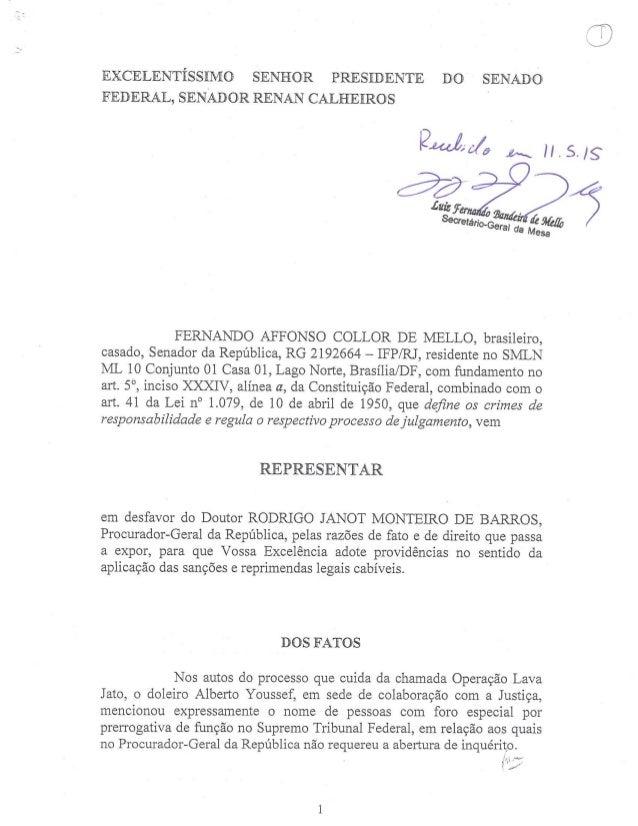 EXCELENTÍSSIMO SENHOR PRESIDENTE DO SENADO FEDERAL,  SENADOR RENAN CALHEIROS O  ? Mw/ a i. . Its/ g  Secretário 'Geral da ...