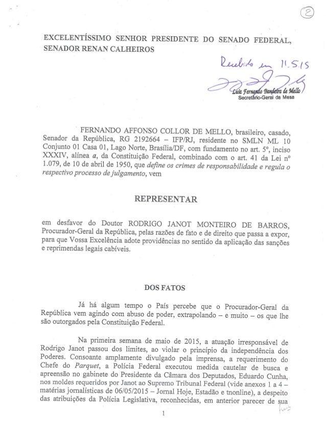 EXCELENTÍSSIMO SENHOR PRESIDENTE DO SENADO FEDERAL,  SENADOR RENAN CALHEIROS  (o   , Lux   âaãizá  Secret : io-Geral da Me...