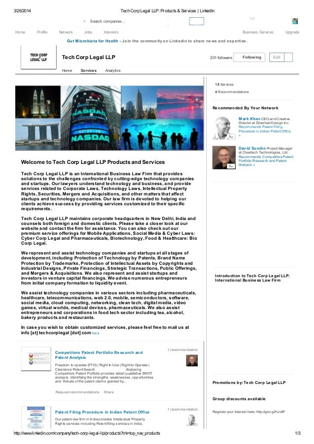 3/26/2014 Tech Corp Legal LLP: Products & Services   LinkedIn http://www.linkedin.com/company/tech-corp-legal-llp/products...