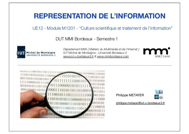 "REPRESENTATION DE L'INFORMATION  UE12 - Module M1201 - ""Culture scientifique et traitement de l'information""  DUT MMI Bord..."