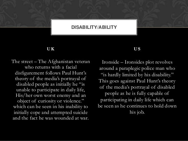 media portrayal of disability facial disfigurement and Jomec journal journalism, media and cultural studies  disability in the uk media' by diana  with facial disfigurement with that of her.