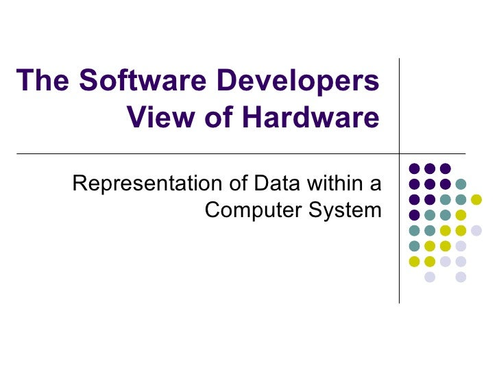 The Software Developers View of Hardware Representation of Data within a Computer System