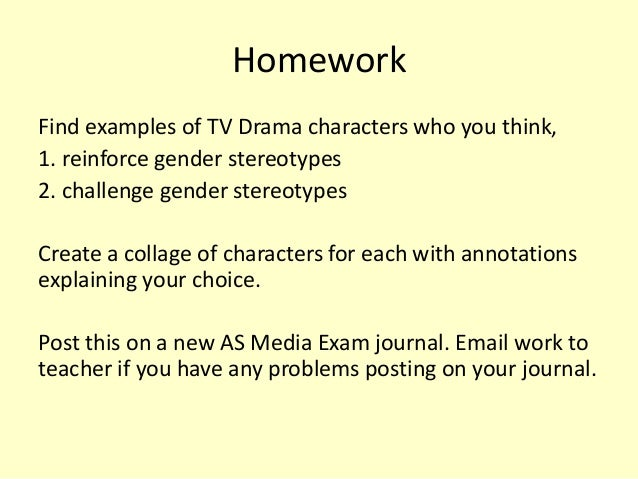 sexual stereotypes in tv class handout Share on facebook, opens a new window share on twitter, opens a new window share on linkedin share by email, opens mail client this lesson familiarises students with stereotypes and helps them understand the role that stereotypes play in television's portrayal of life the lesson begins with a.