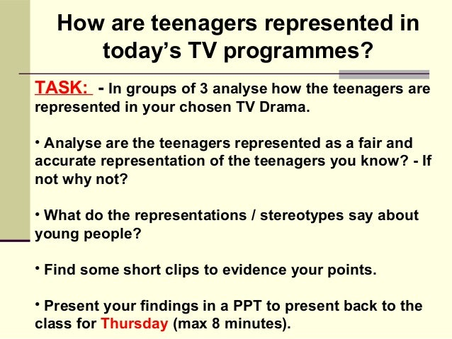 teenagers representation Free essay: com 3029 media studies: policy management and media representation semester 2, 2012 i, the undersigned, hereby declare that this is my own and.