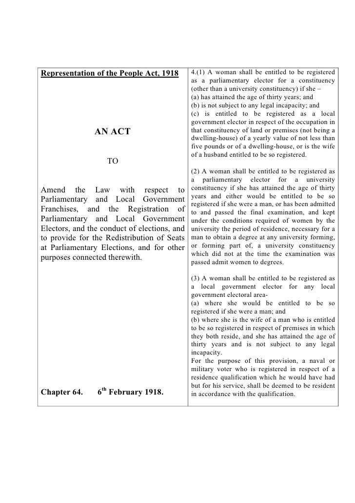 Representation of the People Act, 1918        4.(1) A woman shall be entitled to be registered                            ...