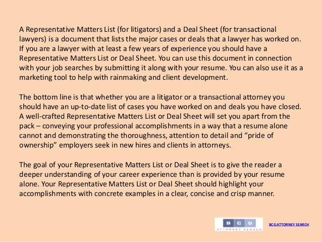 Representative Matters Lists And Deal Sheets BCG ATTORNEY SEARCH 2