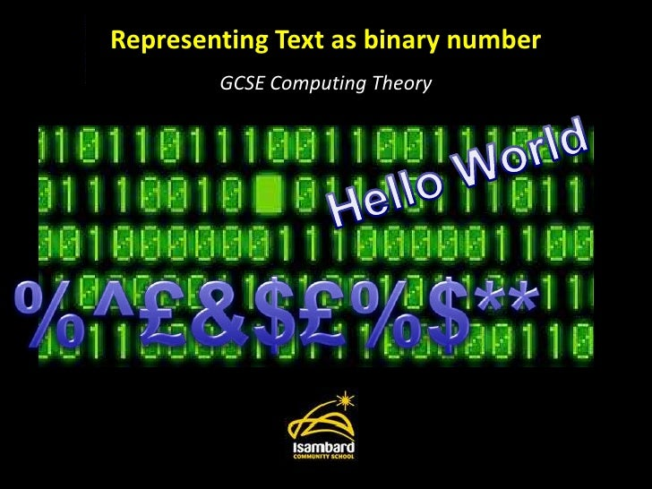 Representing Text as binary number<br />GCSE Computing Theory<br />Hello World<br />%^£&$£%$**<br />